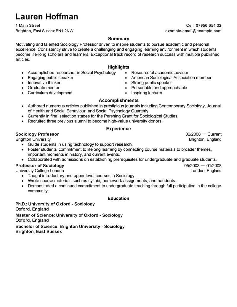 best professor resume example livecareer template for education space saver project Resume Resume Template For Professor
