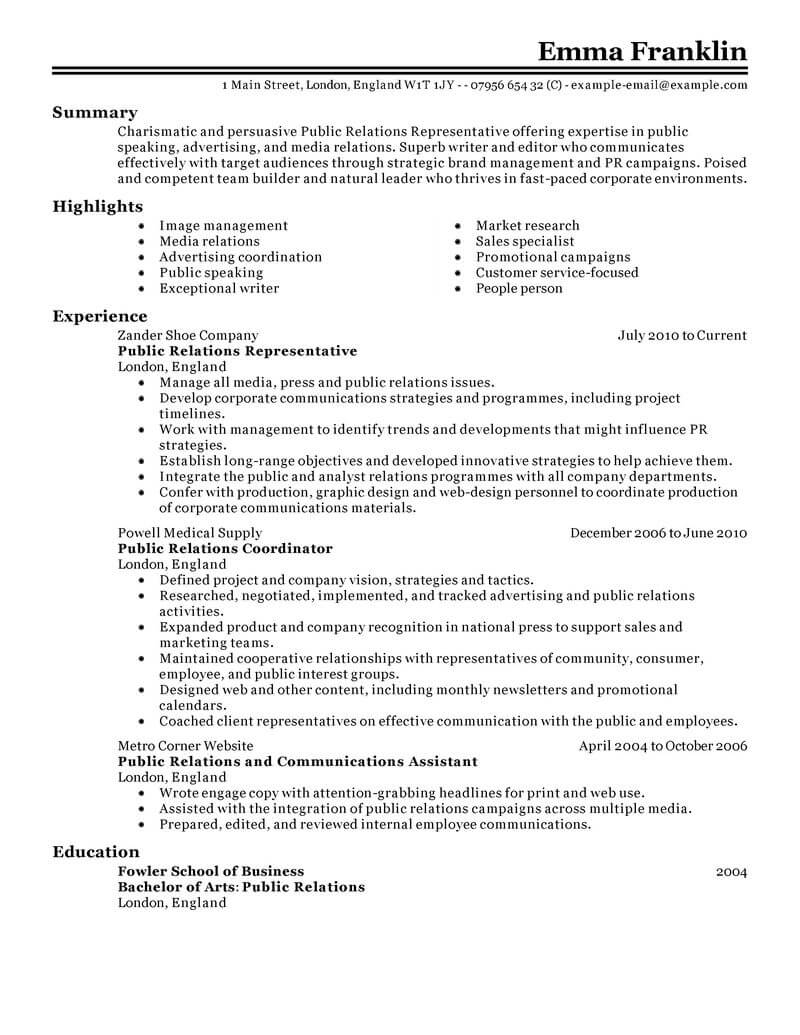 best public relations resume example livecareer officer marketing classic various formats Resume Public Relations Officer Resume