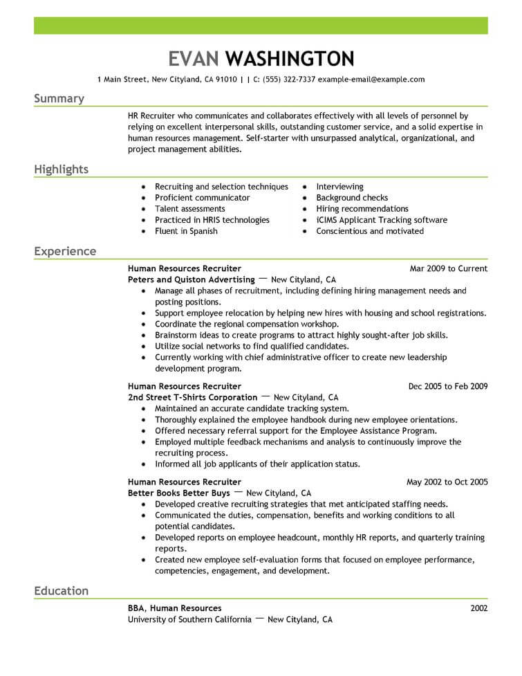 best recruiting and employment resume example livecareer listing on human resources Resume Listing Employment On Resume