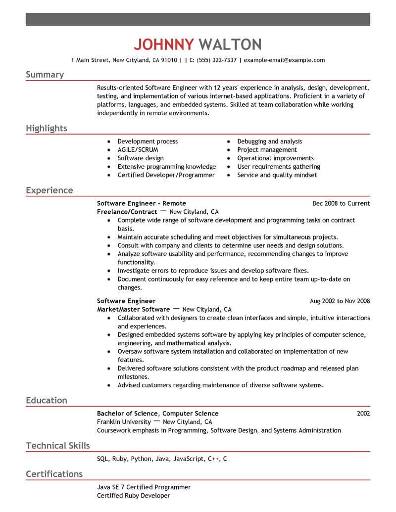 best remote software engineer resume example livecareer for design computers technology Resume Software For Resume Design