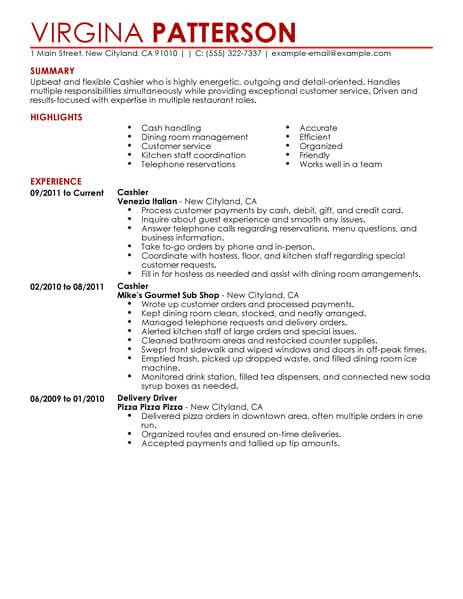 best restaurant cashier resume example livecareer responsibilities food contemporary Resume Cashier Responsibilities Resume
