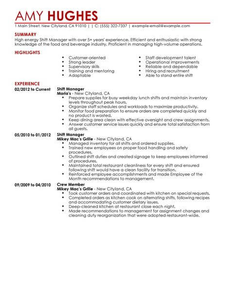 best restaurant shift manager resume example livecareer description for food contemporary Resume Shift Manager Description For Resume