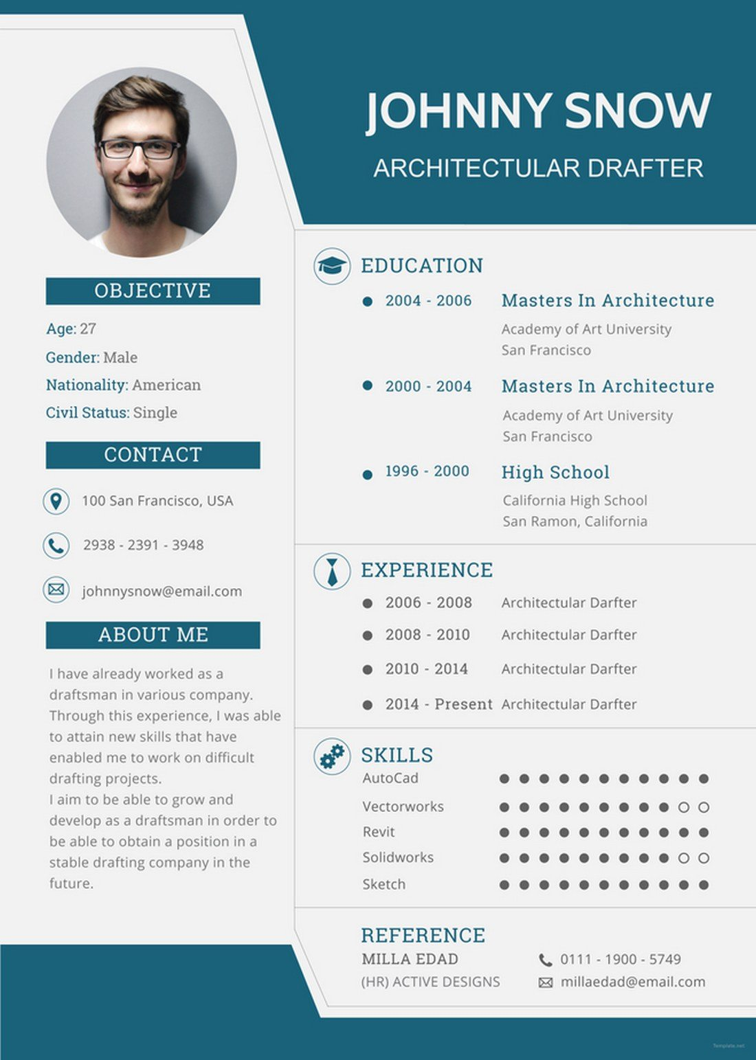 best resume cv templates design shack one template with photo free draftsman sample Resume One Page Resume Template With Photo Free Download