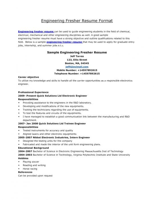 best resume format mechanical engineers pdf for freshers sample engineering objective Resume Objective For Resume For Fresher Mechanical Engineer
