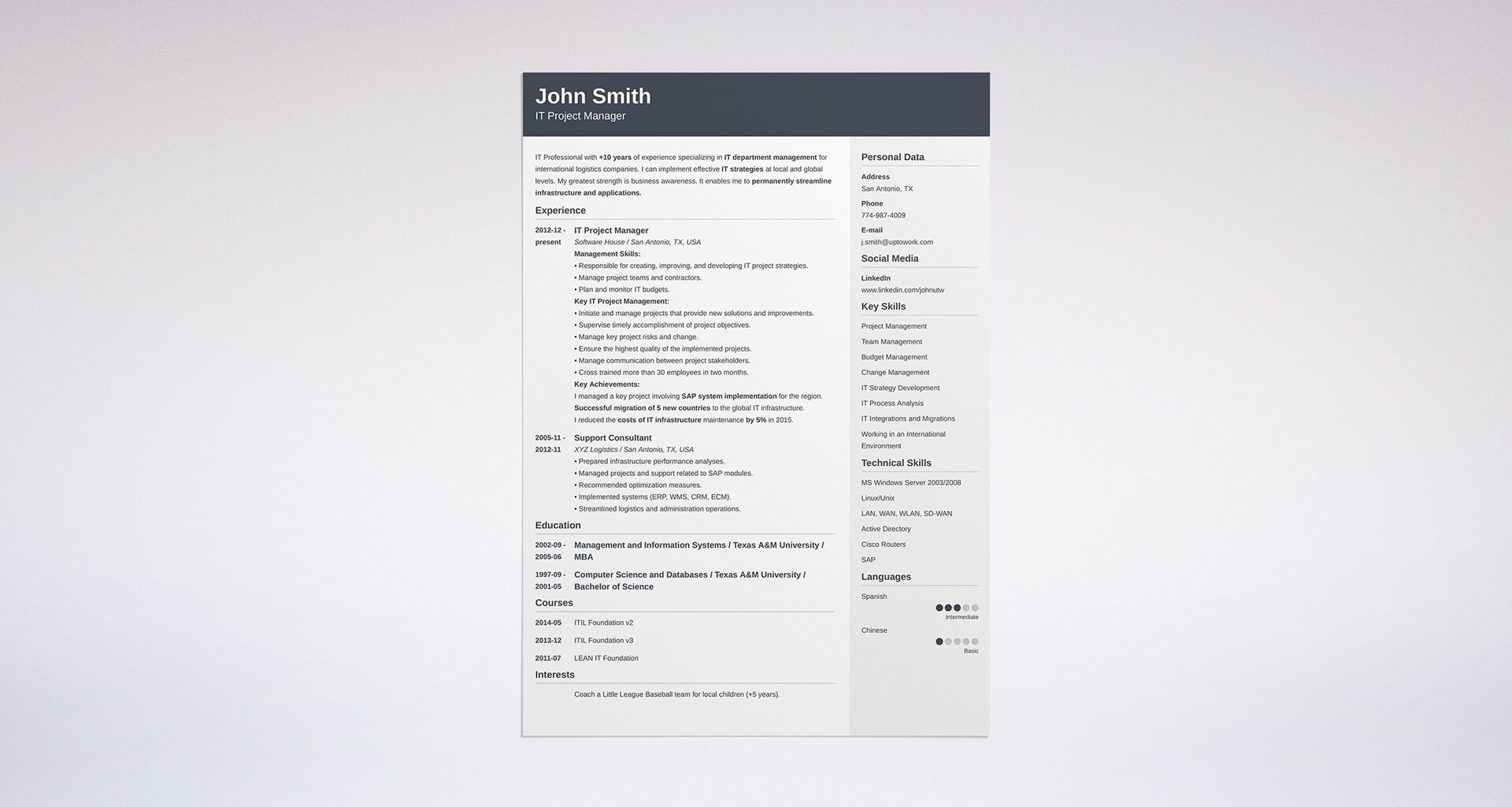 best resume format professional samples strong examples soapui testing points project Resume Strong Resume Examples 2020