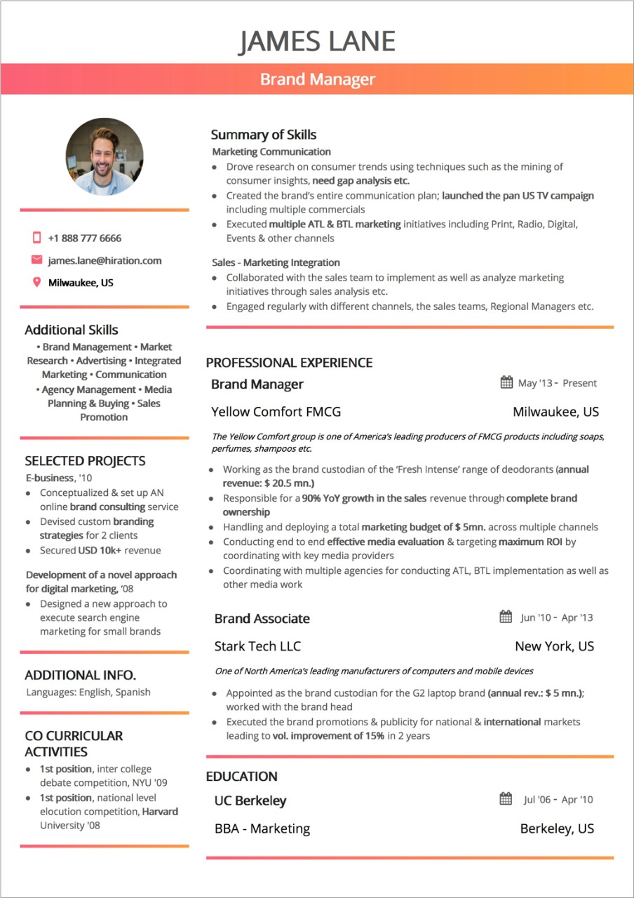 best resume layout guide with examples and samples column template professional Resume Resume 2 Column Template