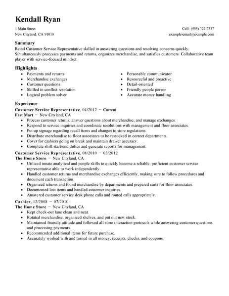 best retail customer service representative resume example livecareer examples standard Resume Resume Examples Customer Service Retail