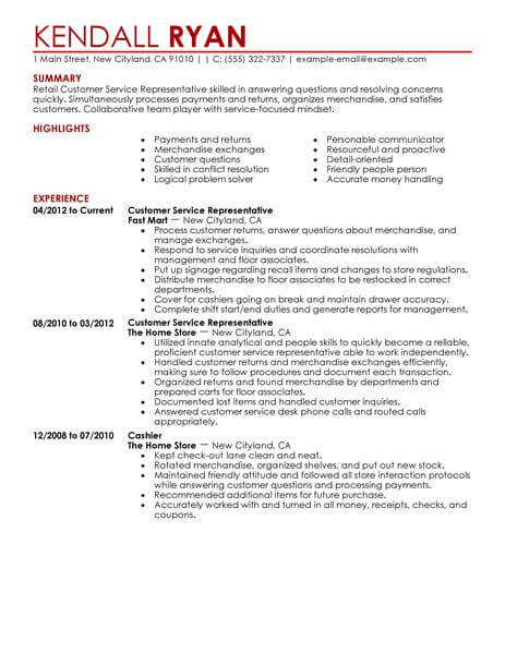 best retail customer service representative resume example livecareer examples Resume Resume Examples Customer Service Retail