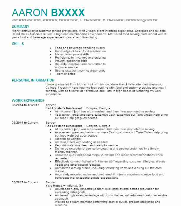 best server resume example livecareer restaurant objective does education or experience Resume Restaurant Resume Objective