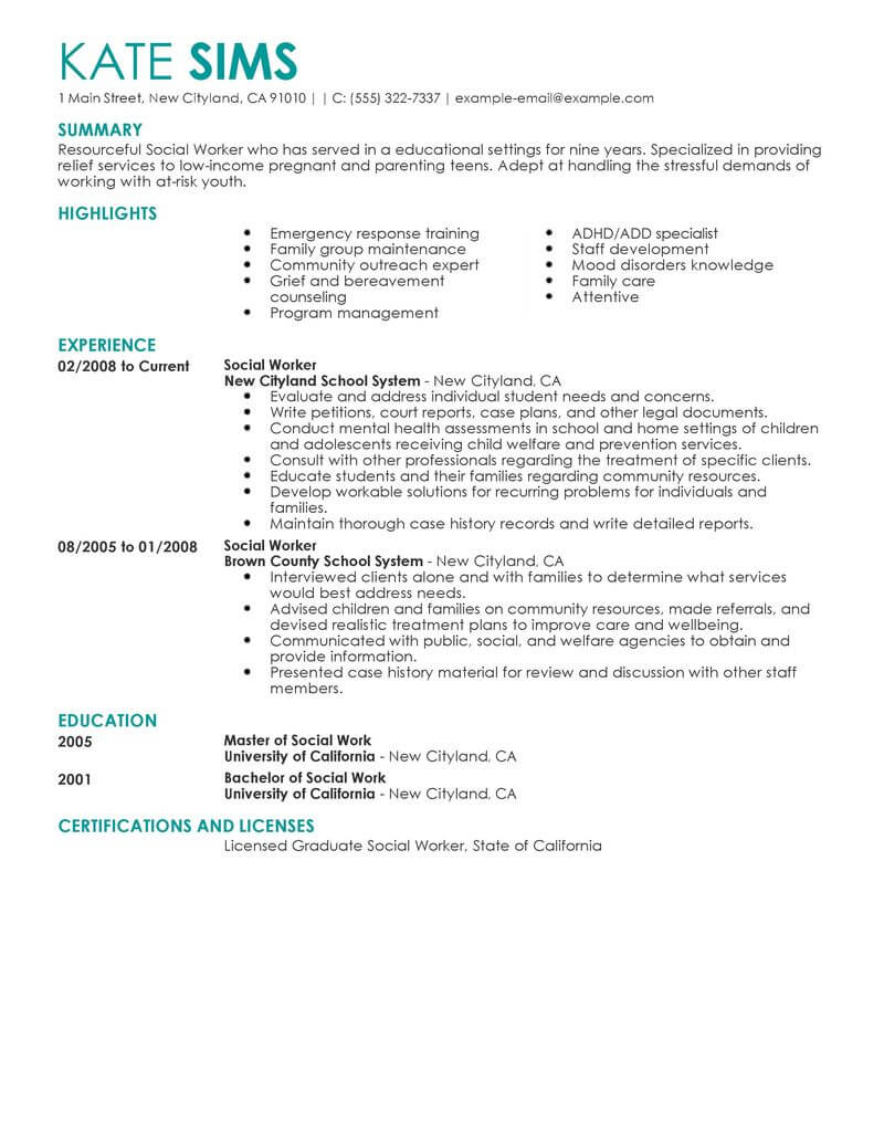 best social worker resume example livecareer work examples services contemporary Resume Social Work Resume Examples 2020