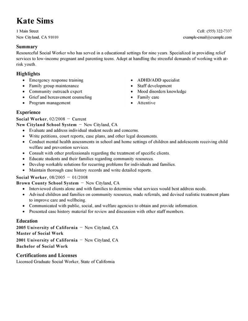 best social worker resume example livecareer work templates free services standard Resume Social Work Resume Templates Free