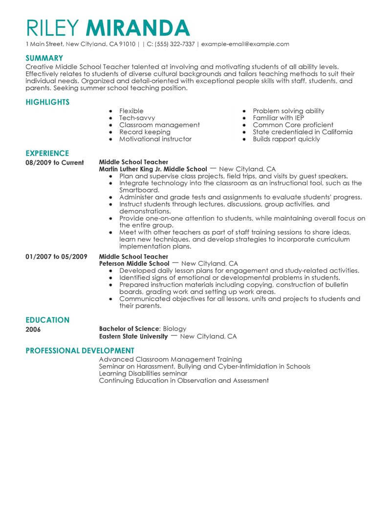 best summer teacher resume example livecareer professional development education Resume Teacher Resume Professional Development