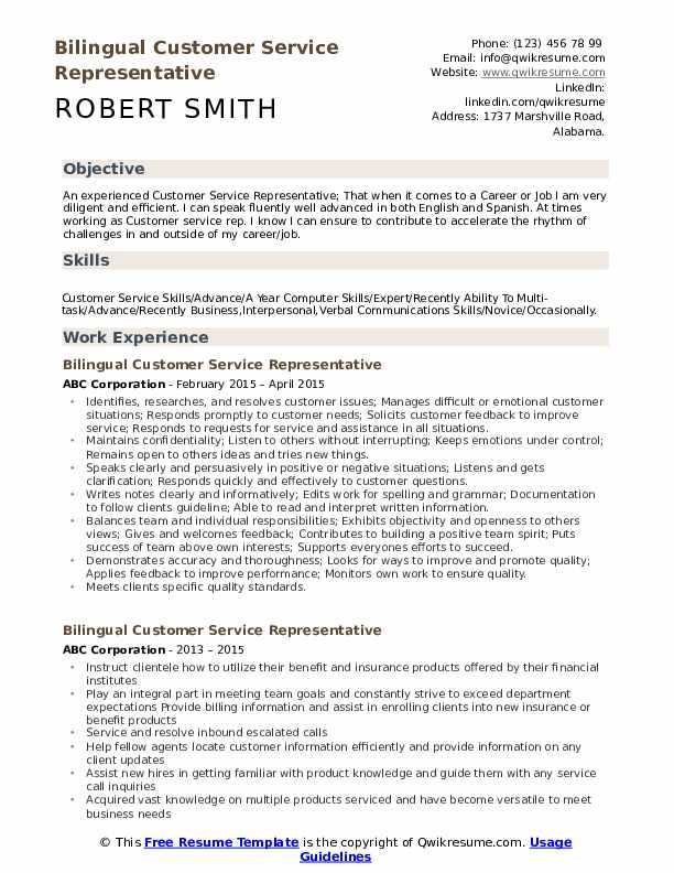bilingual customer service representative resume samples qwikresume career objective for Resume Career Objective For Resume Customer Service