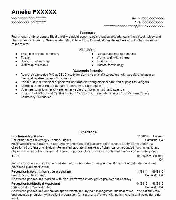 biochemistry student resume example lab umbc opening line for mac makeup interview format Resume Biochemistry Student Resume