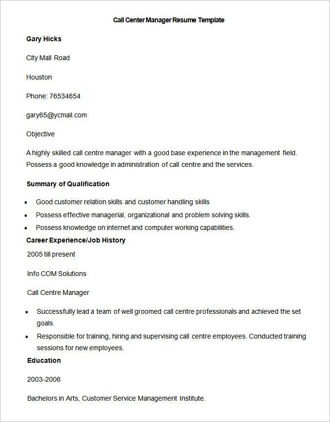 bpo resume templates pdf free premium sample for voice process experienced call manager Resume Sample Resume For Bpo Voice Process Experienced