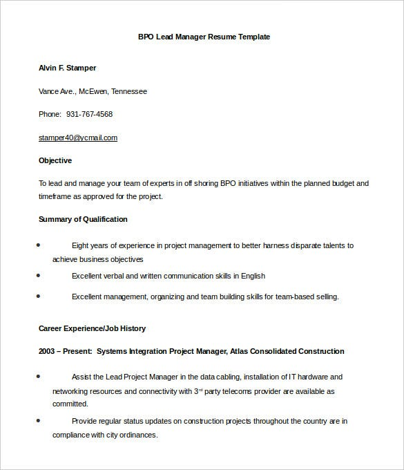 bpo resume templates pdf free premium sample for voice process experienced lead manager Resume Sample Resume For Bpo Voice Process Experienced