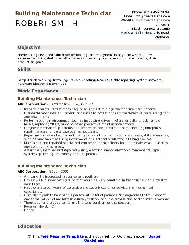 building maintenance technician resume samples qwikresume pdf activities on example Resume Maintenance Building Resume