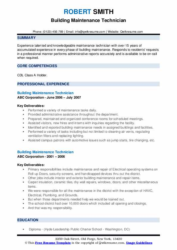 building maintenance technician resume samples qwikresume pdf barista skills financial Resume Maintenance Building Resume