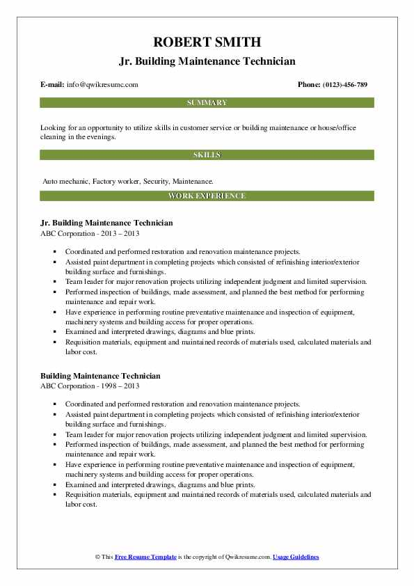building maintenance technician resume samples qwikresume pdf for fresher aeronautical Resume Maintenance Building Resume