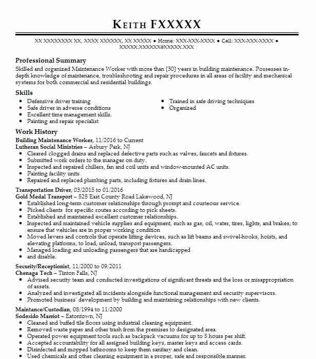 building maintenance worker resume example livecareer certified nursing assistant summary Resume Maintenance Building Resume