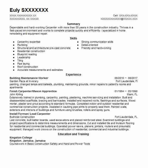 building maintenance worker resume example livecareer skills for industrial painter Resume Skills For Maintenance Worker Resume