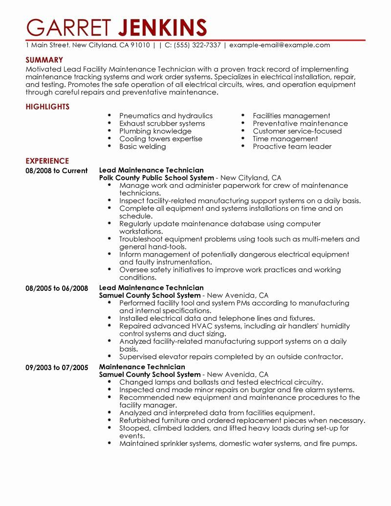 building maintenance worker resume lovely best facility lead example good examples skills Resume Maintenance Building Resume