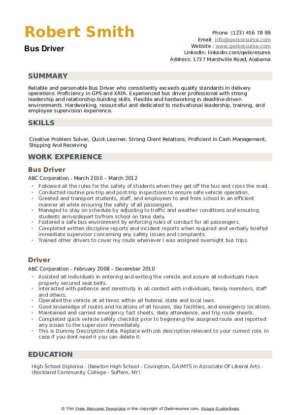 bus driver resume samples qwikresume for position pdf production experience sample Resume Resume For Bus Driver Position
