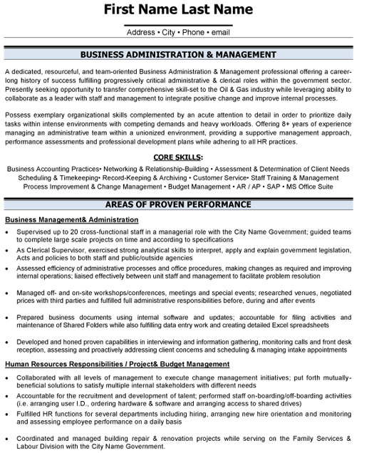 business administration resume sample template adm management experience computer skill Resume Business Resume Template