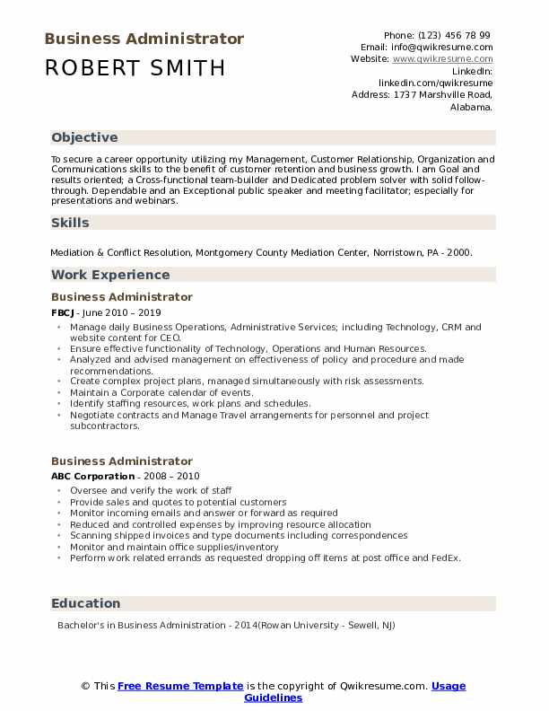 business administrator resume samples qwikresume for administration position pdf free Resume Resume For Business Administration Position