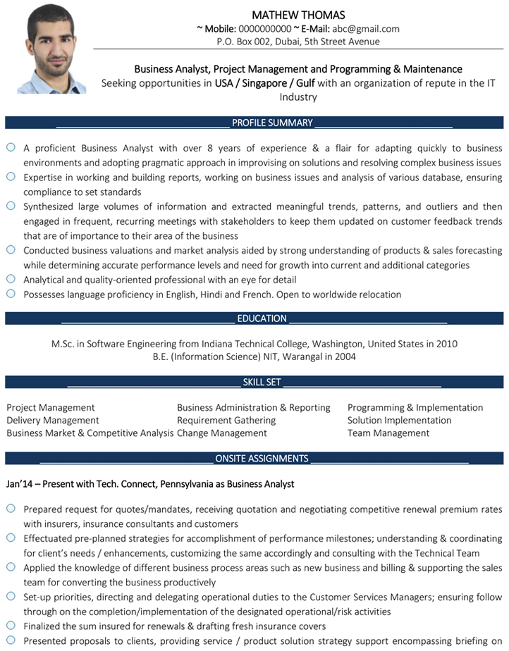 business analyst cv format resume sample and template tactical heading staple food Resume Gulf Resume Format Sample