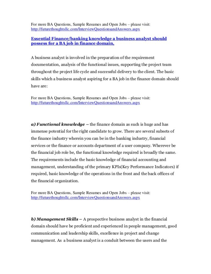 business analyst resume for financial and banking domain sample babankingandfinancial Resume Sample Resume Business Analyst Banking