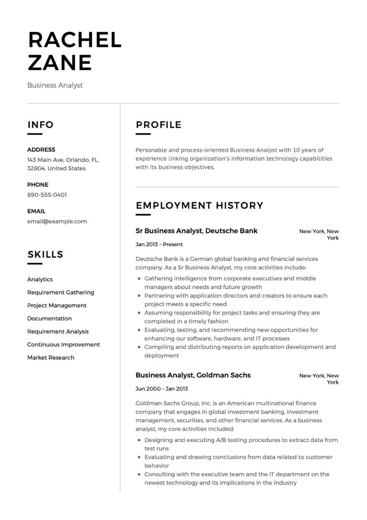 business analyst resume guide templates pdf free downloads objective rachel zane 724x1024 Resume Business Analyst Resume Objective