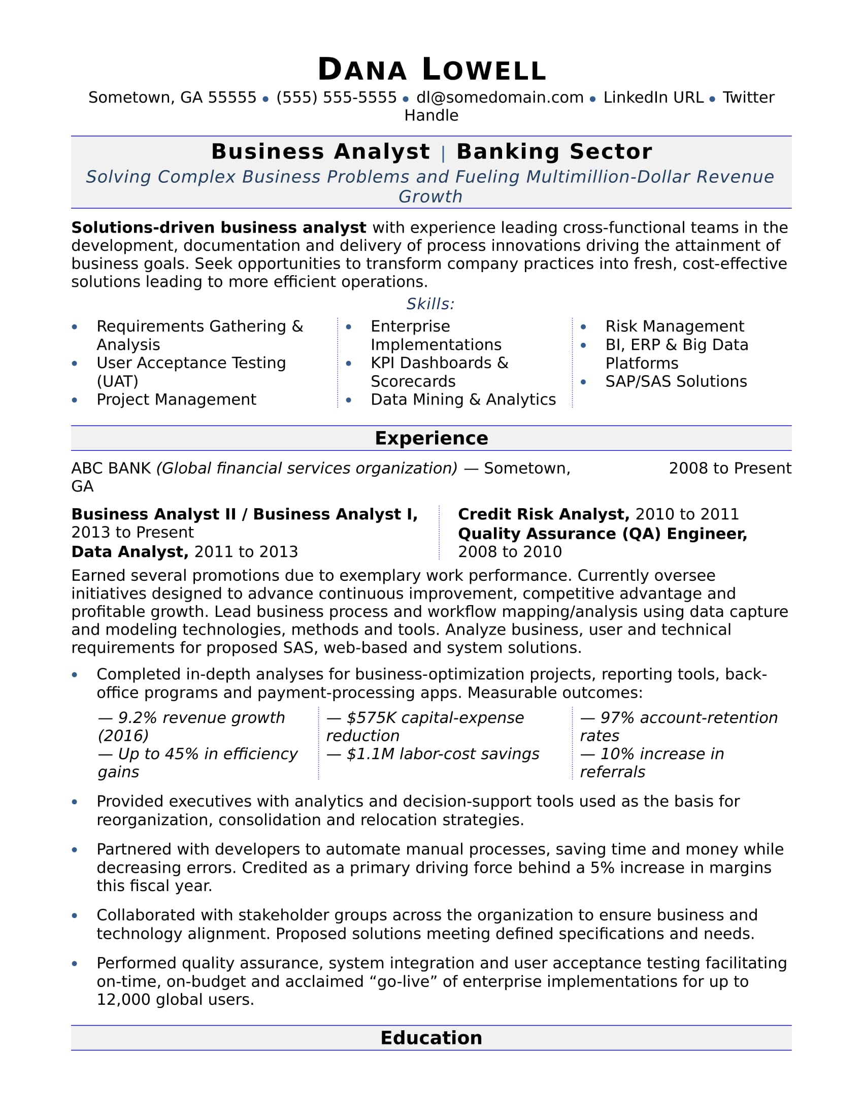 business analyst resume sample monster corporate examples businessanalyst phlebotomy for Resume Corporate Resume Examples