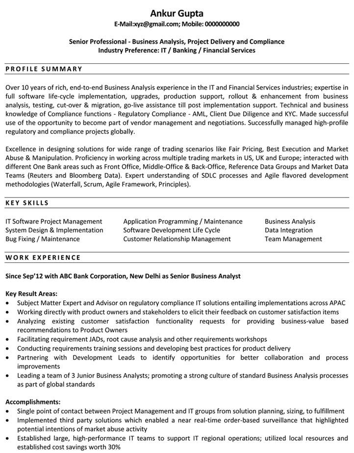 business analyst resume samples senior production manager examples build your own Resume Senior Business Analyst Resume