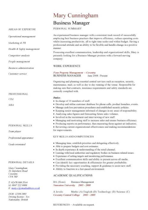 business manager cv sample time management resume organizing motivating and controlling Resume Business Management Resume Example