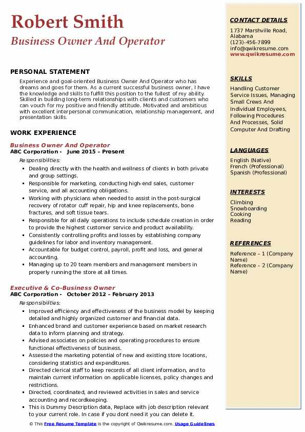 business owner resume samples qwikresume for owning your own pdf programming projects Resume Resume For Owning Your Own Business