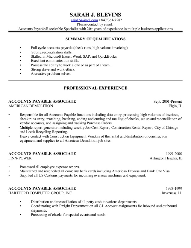 business resume full cycle accounts payable for general manager position good words and Resume Full Cycle Accounts Payable Resume