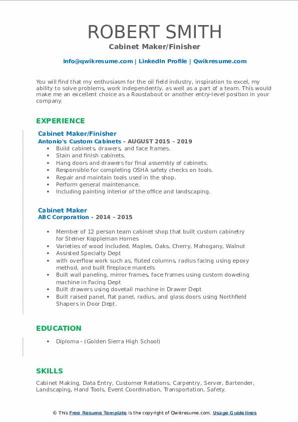cabinet maker resume samples qwikresume example sample pdf quick template casino manager Resume Cabinet Maker Resume Example Sample