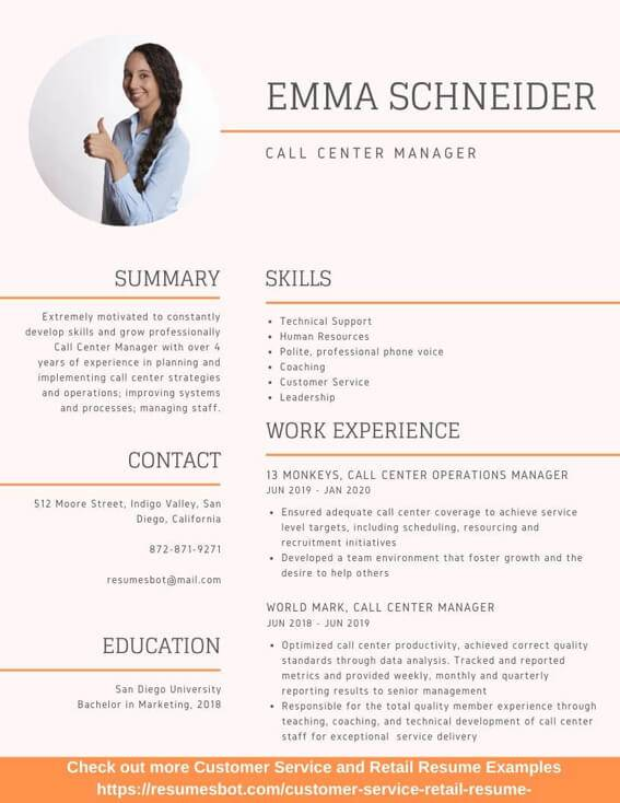 call center manager resume samples and tips pdf resumes bot experience example forwarding Resume Experience Call Center Resume