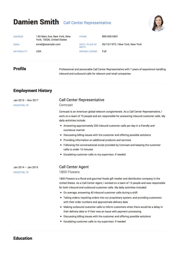 call center resume guide free downloads professional telemarketing damien representative Resume Professional Telemarketing Resume