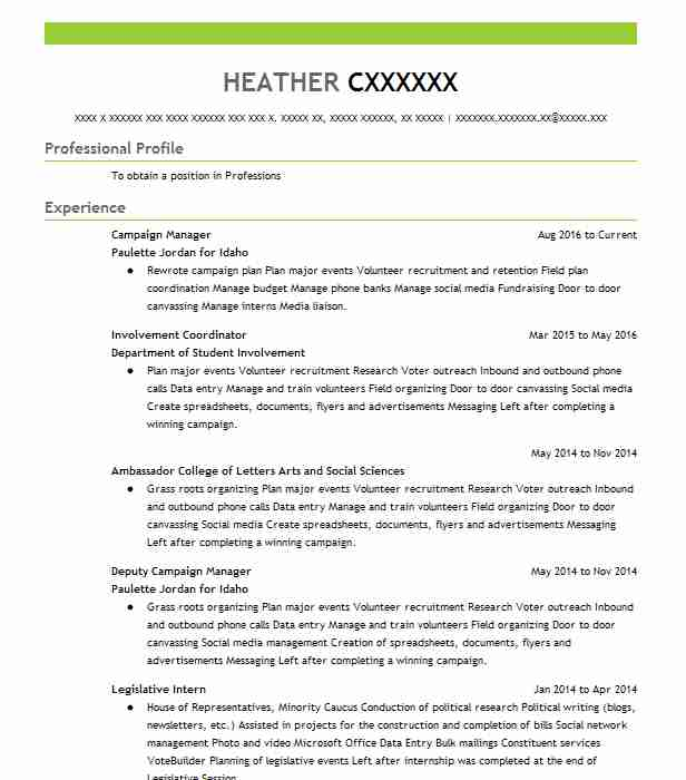 campaign manager resume example resumes misc livecareer director format for law students Resume Campaign Director Resume
