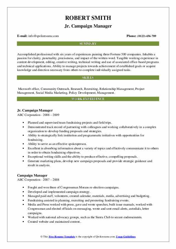 campaign manager resume samples qwikresume director pdf guerilla marketing brewery talent Resume Campaign Director Resume