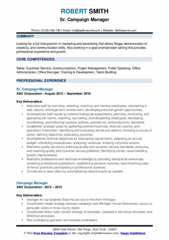 campaign manager resume samples qwikresume political candidate sample pdf after school Resume Political Candidate Resume Sample