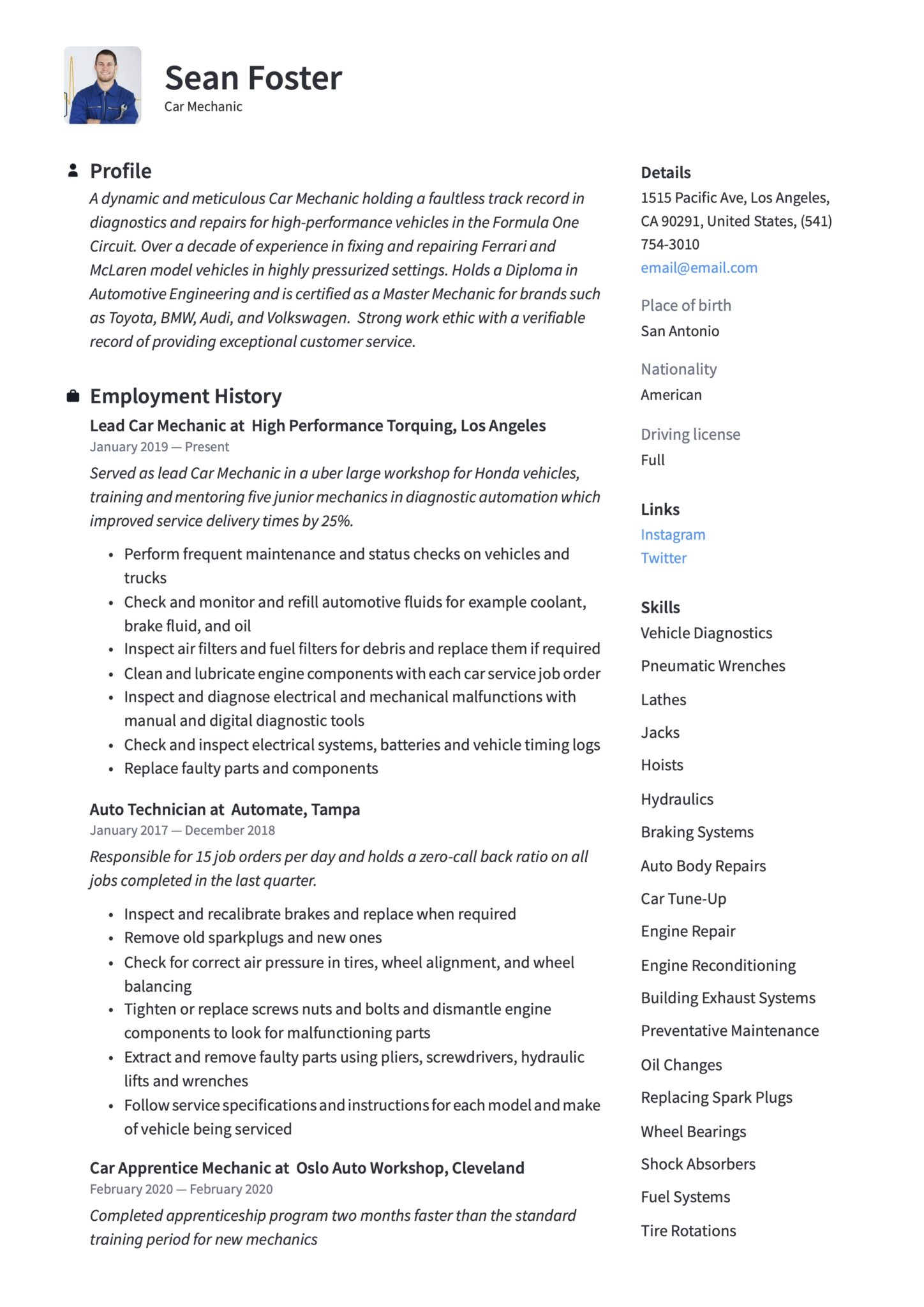 car mechanic resume guide examples auto skills scaled estimator project manager create Resume Auto Mechanic Resume Skills Examples