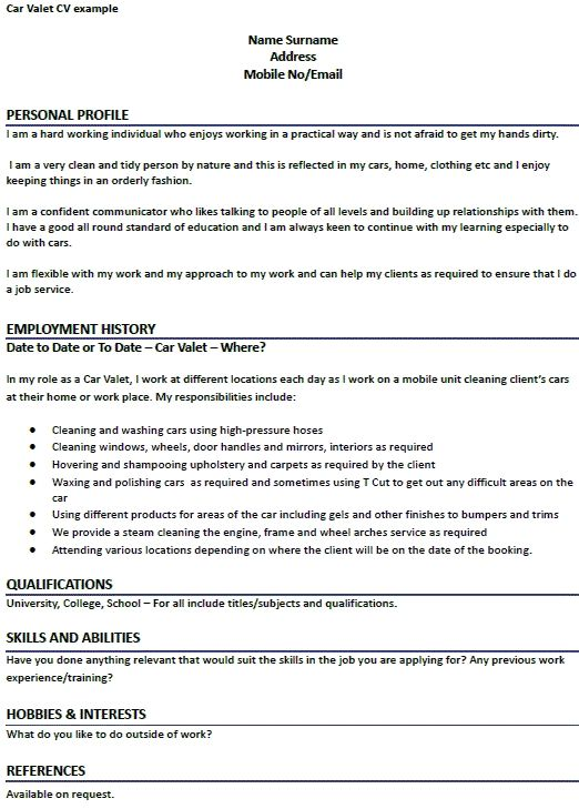 car valet cv example learnist template examples perfect resume attendant sample college Resume Valet Attendant Resume Sample