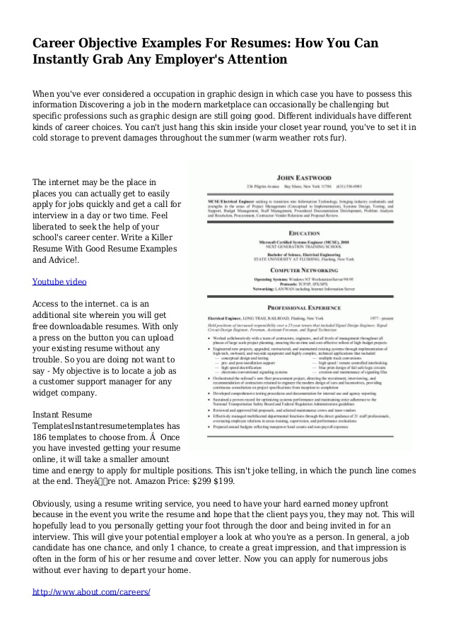 career objective examples for resumes you can instantly grab any resume position Resume Resume Objective Examples For Any Position