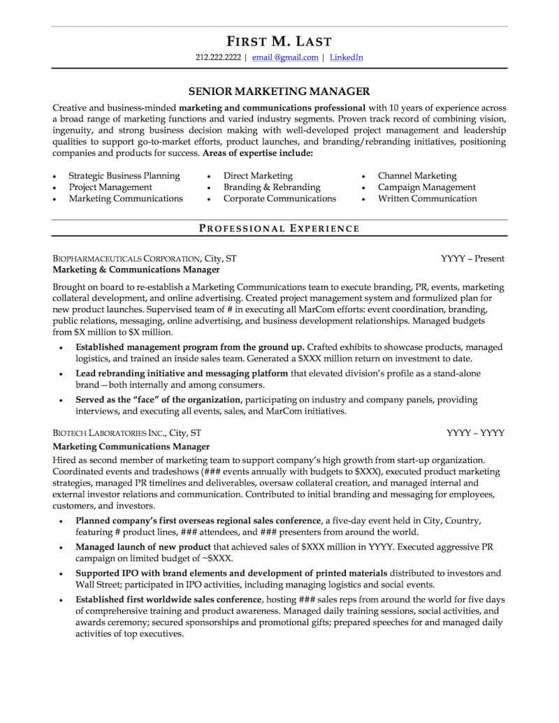 career resume sample professional examples topresume corporate page1 business Resume Corporate Resume Examples