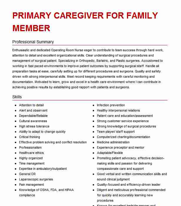 caregiver to family member resume example bunnell caring for on sample culinary arts Resume Caring For Family Member On Resume