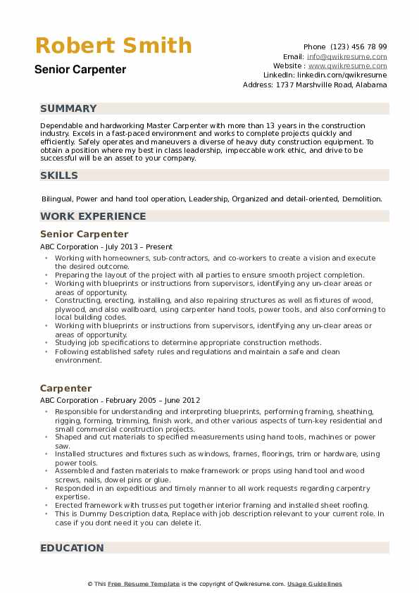 carpenter resume samples qwikresume job description for pdf cna duties fine dining Resume Carpenter Job Description For Resume