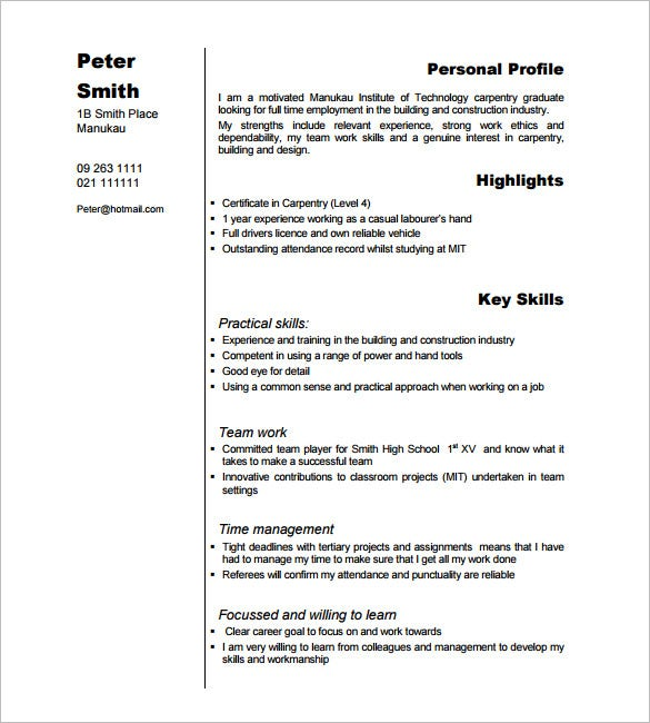 carpenter resume templates free printable word pdf samples skills for example examples Resume Carpenter Skills For Resume